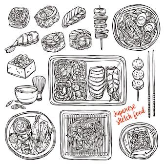 Sushi e cibo disegnato a mano giapponese. stile di schizzo