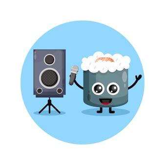 Sushi karaoke simpatico personaggio mascotte