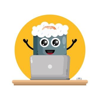 Logo di un simpatico personaggio del computer portatile sushi