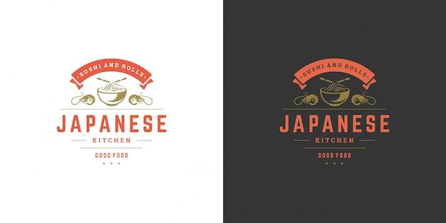 Ristorante di cibo giapponese logo e distintivo di sushi con silhouette di cucina asiatica di zuppa di spaghetti ramen