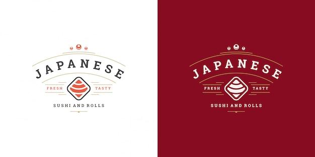 Ristorante di cibo giapponese logo e distintivo dei sushi con la siluetta asiatica della cucina del rotolo di salmone dei sushi