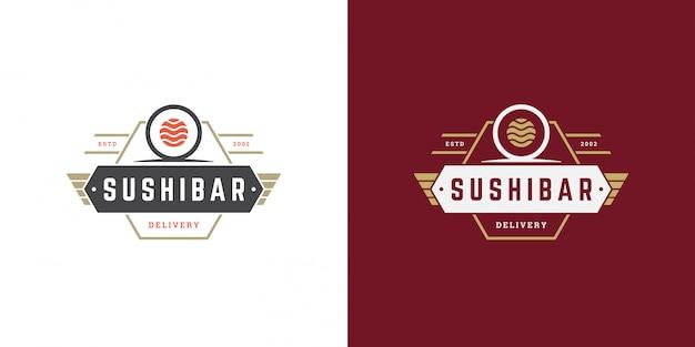 Ristorante di cibo giapponese logo e distintivo di sushi con cucina asiatica di rotolo di salmone sushi