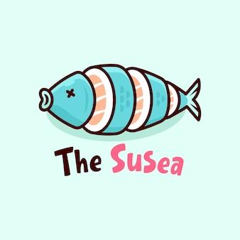 Logo sushi con logo a fumetto a forma di pesce fresco blu
