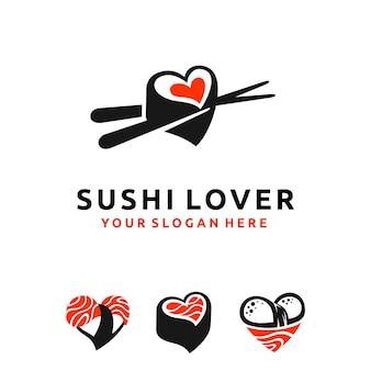 Logo amante del sushi con forma multipla