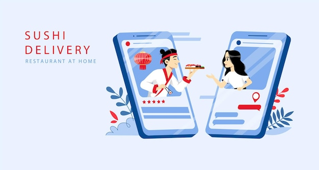 Ordine di sushi online e concetto di consegna.