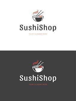 Illustrazione del modello di logo del ristorante di sushi