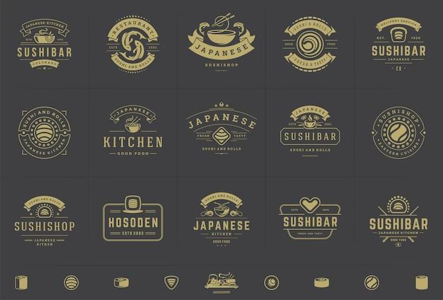 I loghi ei distintivi del ristorante di sushi impostano il cibo giapponese con involtini di salmone sushi
