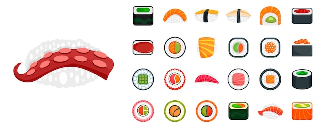 Set di icone di sushi roll Vettore Premium
