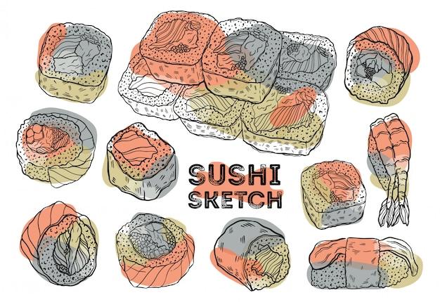 Set di schizzo di rotolo di sushi