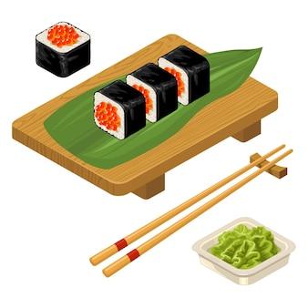 Rotolo di sushi con bacchette di caviale wasabi in ciotola e tavola di legno icona di colore piatto vettoriale