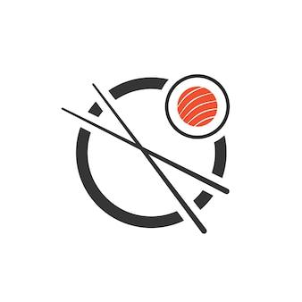Rotolo di sushi con l'icona delle bacchette. concetto di emblema aziendale, sashimi, maki, identità visiva, segno minimo. isolato su sfondo bianco. illustrazione vettoriale di design moderno del marchio di tendenza in stile piatto