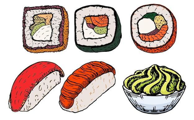 Insieme di schizzi di sushi e panini. per adesivi, etichette, loghi - cibo asiatico con pesce, riso, alghe, caviale. wasabi. cibo da ristorante. illustrazione colorata per i bambini.