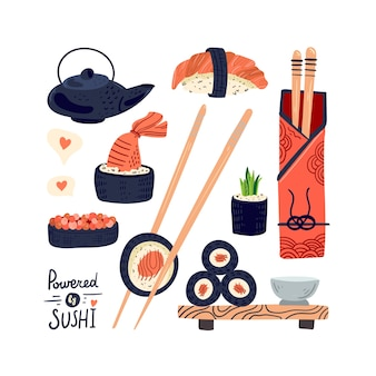 Sushi rotoli cibo tradizionale. cucina asiatica