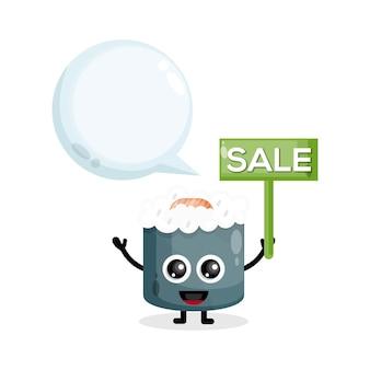 Logo della mascotte di vendita di sushi