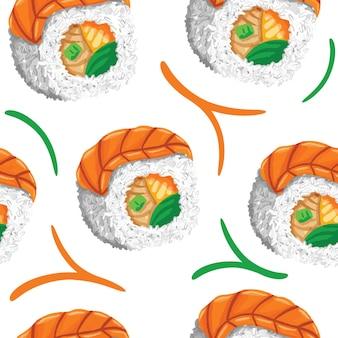 Sushi senza cuciture in stile design piatto