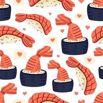 Modello senza cuciture di sushi cibo giapponese
