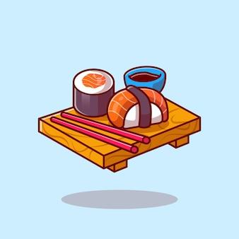 Sushi con bacchette cartoon Vettore Premium