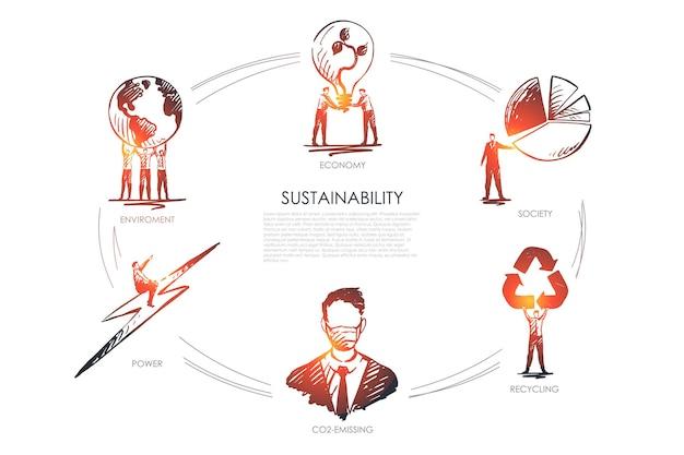 Sostenibilità, economia, società, riciclaggio, emissioni di co2, infografica ambientale