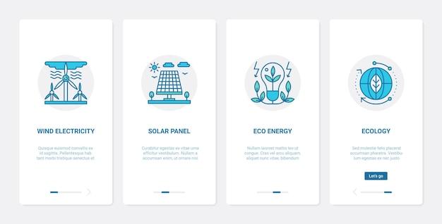 Fonti alternative sostenibili di ux di energia, set di schermate della pagina dell'app mobile di onboarding dell'interfaccia utente
