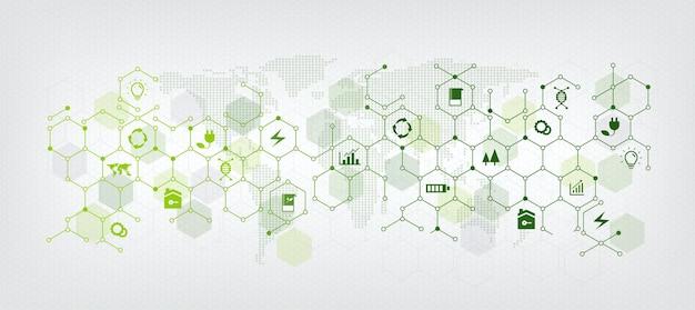 Affari sostenibili o sfondo verde dell'illustrazione di vettore di affari con il concetto di icone collegate relative alla protezione dell'ambiente e alla sostenibilità. con geometria esagonale