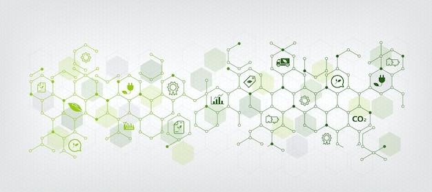 Affari sostenibili o sfondo verde dell'illustrazione di vettore di affari. con concetti di icone collegati relativi alla protezione dell'ambiente e alla sostenibilità negli affari e nell'esagono Vettore Premium
