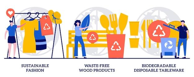 Moda sostenibile, prodotti in legno senza sprechi, concetto di stoviglie usa e getta biodegradabili con persone minuscole. insieme dell'illustrazione di vettore dell'estratto di integrità ecologica. metafora di innovazioni ecocompatibili.