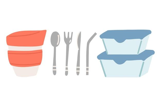 Cucina sostenibile e concetto di vita a rifiuti zero. tazza riutilizzabile, contenitore in vetro e posate e cannuccia in acciaio inossidabile. illustrazione del fumetto di vettore.