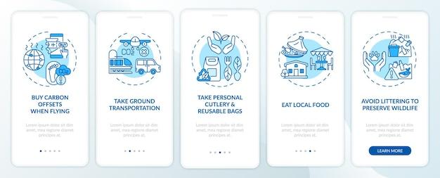 Suggerimenti per tour sostenibili sulla schermata della pagina dell'app mobile con concetti. segui le istruzioni grafiche in 5 passaggi per il trasporto a terra.