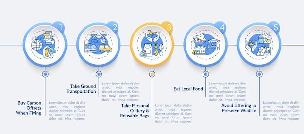 Modello di infografica vettoriale di suggerimenti per tour sostenibili. prendi gli elementi di design della presentazione del trasporto via terra. visualizzazione dei dati con 5 passaggi. grafico della sequenza temporale del processo. layout del flusso di lavoro con icone lineari