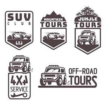 Suv 4x4 viaggio fuoristrada tour club icona logo template vector