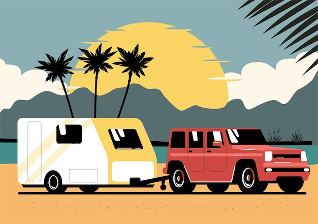 Auto suv e roulotte sul paesaggio di sfondo. illustrazione vettoriale.