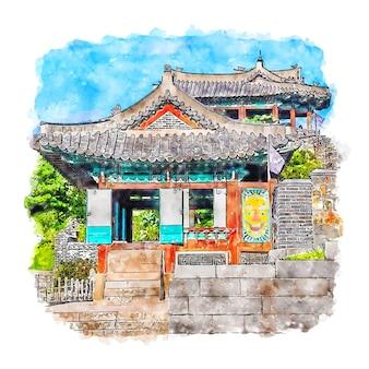 Illustrazione disegnata a mano di schizzo dell'acquerello di suwon corea