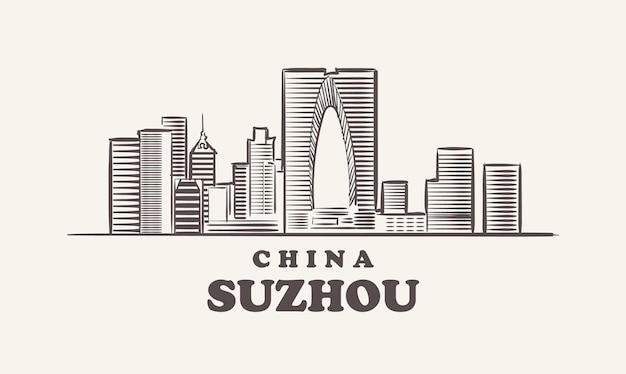 Schizzo di paesaggio urbano di suzhou disegnato a mano, cina