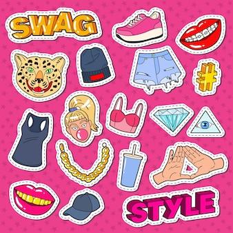 Doodle di moda adolescente stile swag con le labbra