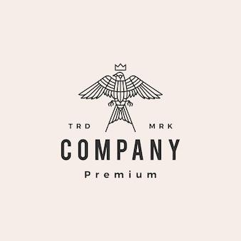 Modello di logo vintage di rondine uccello monoline re hipster