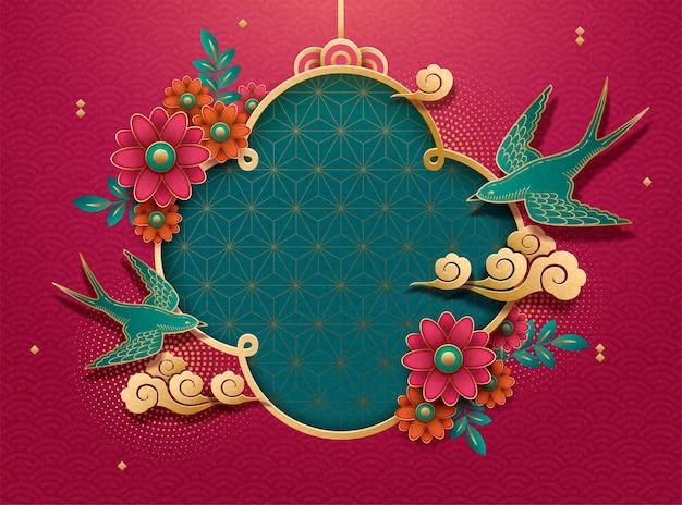 Sfondo decorativo di rondini e fiori