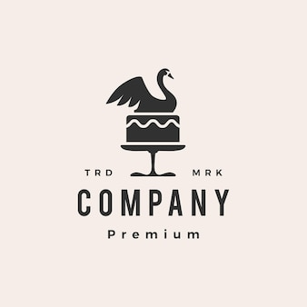 Logo vintage hipster di torta di cigno matrimonio