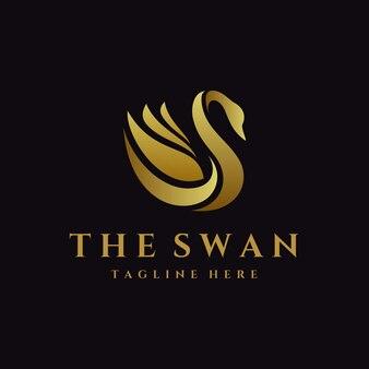 Modello di logo di lusso del cigno