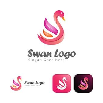 Modello di design concept logo moderno cigno