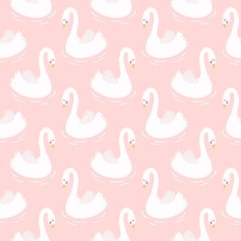 Swan seamless pattern background