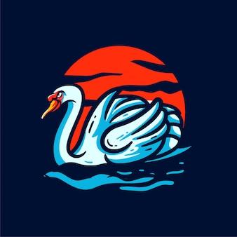 Illustrazione su ordinazione di logo della mascotte del cigno del sole