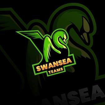 Logo della mascotte dei cigni immagini stock del logo della squadra di esport