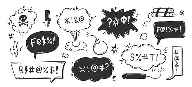 Insieme della bolla di discorso di parolaccia. maledizione, maleducato, parolaccia per espressione arrabbiata, cattiva, negativa. stile di schizzo doodle disegnato a mano. illustrazione vettoriale.