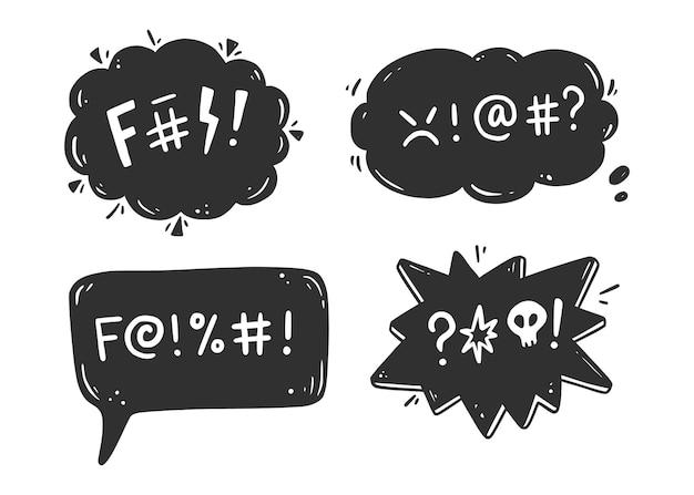 Insieme del fumetto di parolaccia. maledizione, maleducato, parolaccia per espressione arrabbiata, cattiva, negativa. stile di schizzo doodle disegnato a mano. illustrazione vettoriale.
