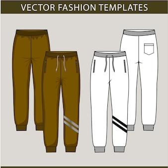 Pantaloni della moda. modelli di schizzo piatto vettoriale, pantaloni da jogging, fronte e retro