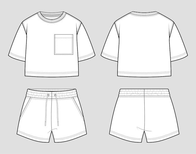 Set sudore. t-shirt e pantaloncini oversize. schizzo.