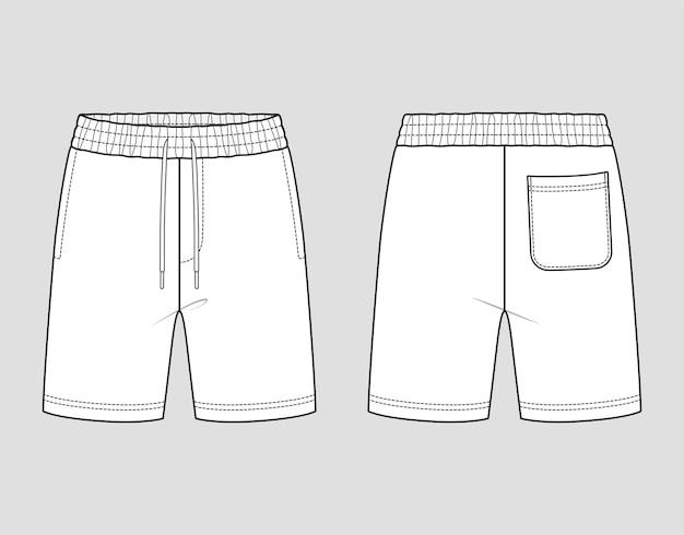Shorts in felpa con elastico in vita. abbigliamento sportivo da uomo. schizzo tecnico di vettore. modello di prova.