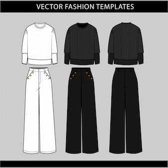 Maglione e pantaloni vista anteriore e posteriore, modello di schizzo piatto di moda, vestito casual