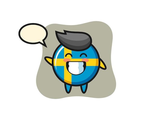 Personaggio dei cartoni animati del distintivo della bandiera della svezia che fa il gesto della mano dell'onda, design in stile carino per maglietta, adesivo, elemento logo