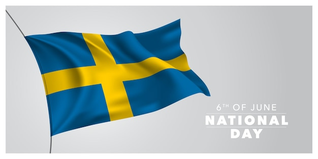 Svezia felice giornata nazionale. elemento di design vacanza svedese del 6 giugno con sventolando la bandiera come simbolo di indipendenza